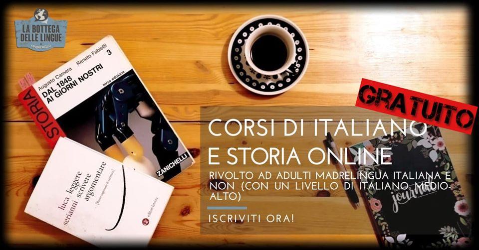 corsi gratutiti italiano storia online